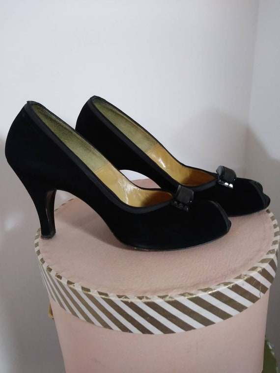 Vintage 50s heels / 50s Peep Toe Heels / vintage … - image 6