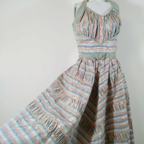 Vintage 50s cotton candy halter dress / 50s party