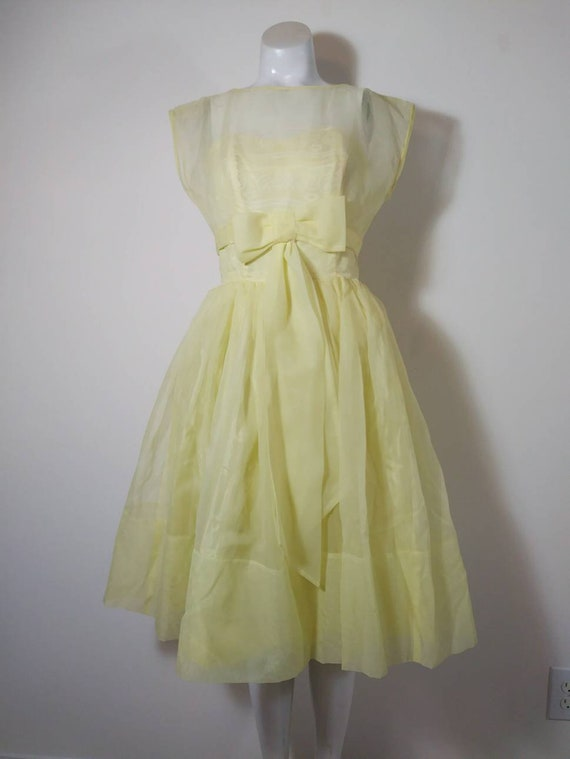 Vintage 50s party dress / 50s yellow dress / 50s … - image 2