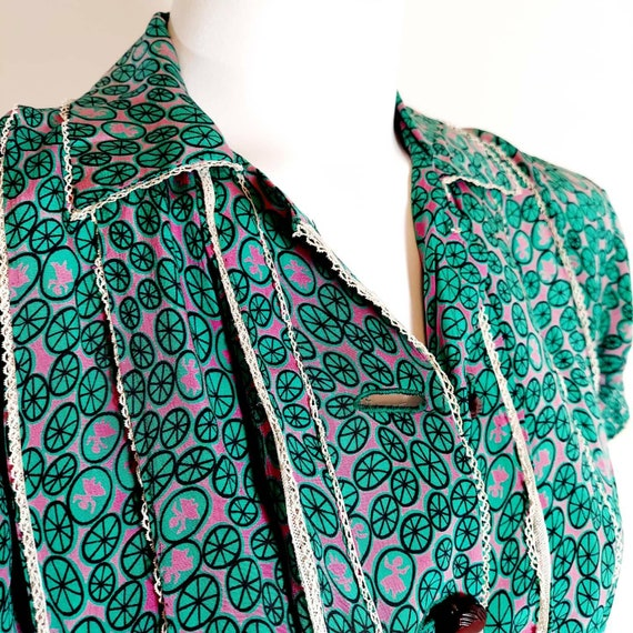 Vintage 30s 40s silk rayon dress / 40s novelty pr… - image 3