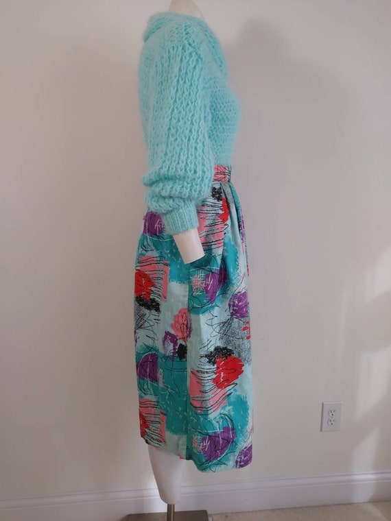 50s style cotton skirt / 80s abstract skirt / Roc… - image 6