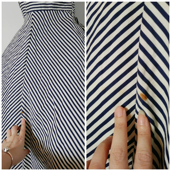 Vintage 50s circle skirt dress / 50s stripes dres… - image 6