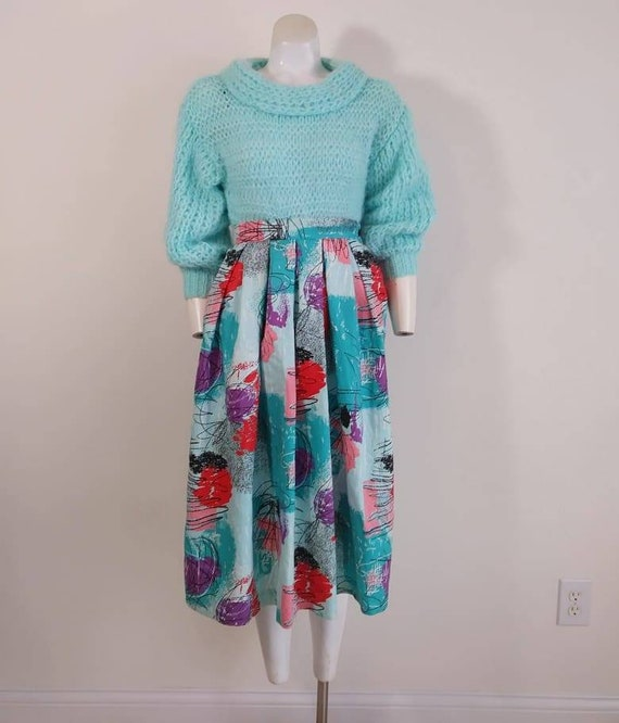 50s style cotton skirt / 80s abstract skirt / Roc… - image 2