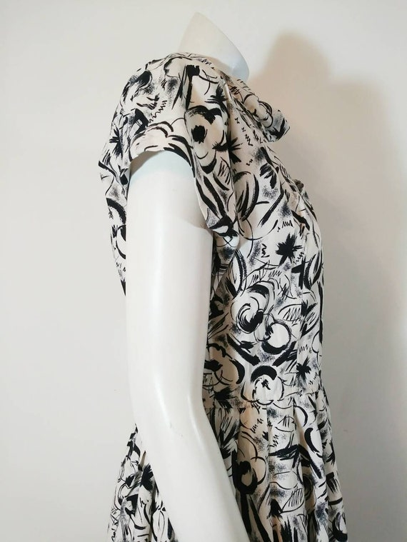 Vintage 50s abstract dress / 50s black and white … - image 7