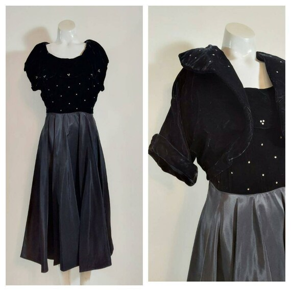 Vintage 40s velvet dress jacket set / 40s cropped