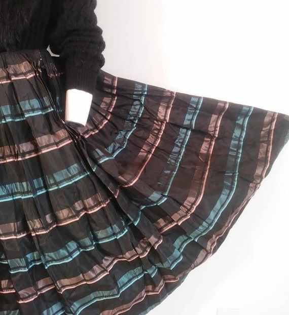 Vintage 50s striped skirt / 50s pleated skirt / 5… - image 1