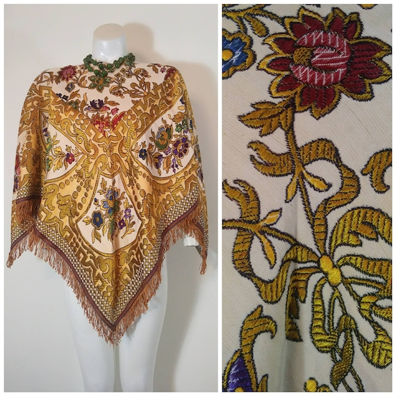 Vintage baroque embroidered poncho / folk art mede