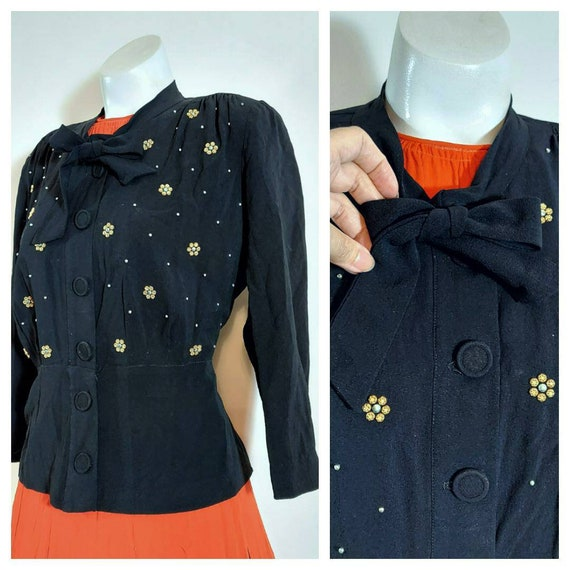 Vintage 1940s blouse / 40s studded blouse / 40s ra