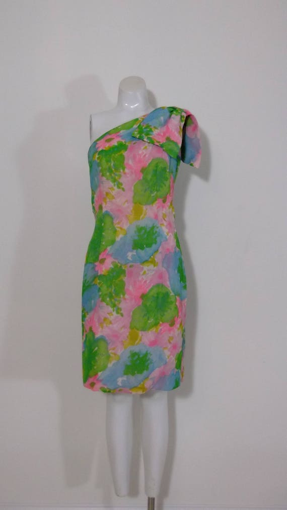 vintage 60s chiffon floral dress / vintage one sho