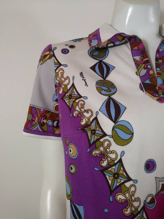 70s signed Saul dress / Pucci print style dress /… - image 3