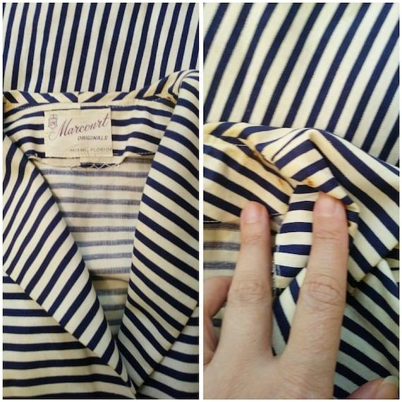 Vintage 50s circle skirt dress / 50s stripes dres… - image 8