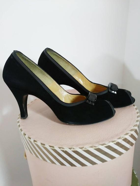 Vintage 50s heels / 50s Peep Toe Heels / vintage … - image 2