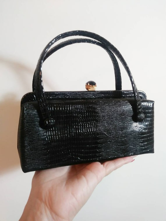 Vintage 50s reptile snake purse / 50s hand bag pur