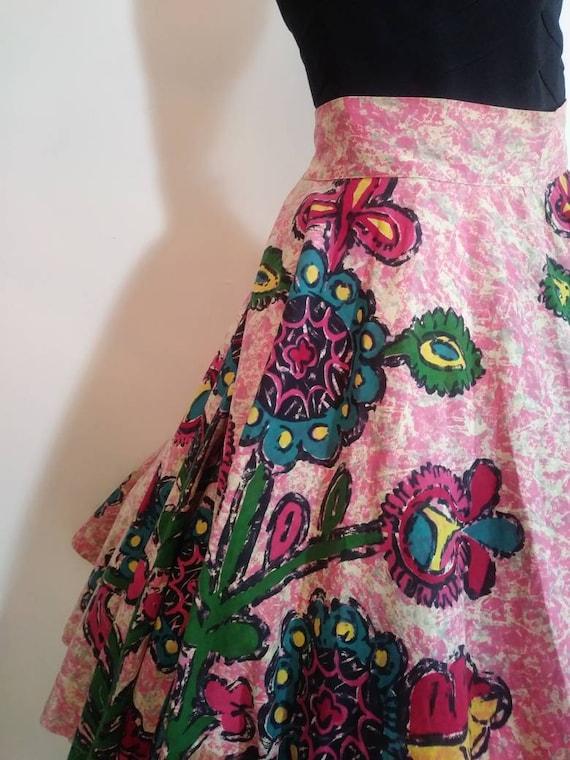 50s novelty print skirt / 50s full circle skirt /… - image 5