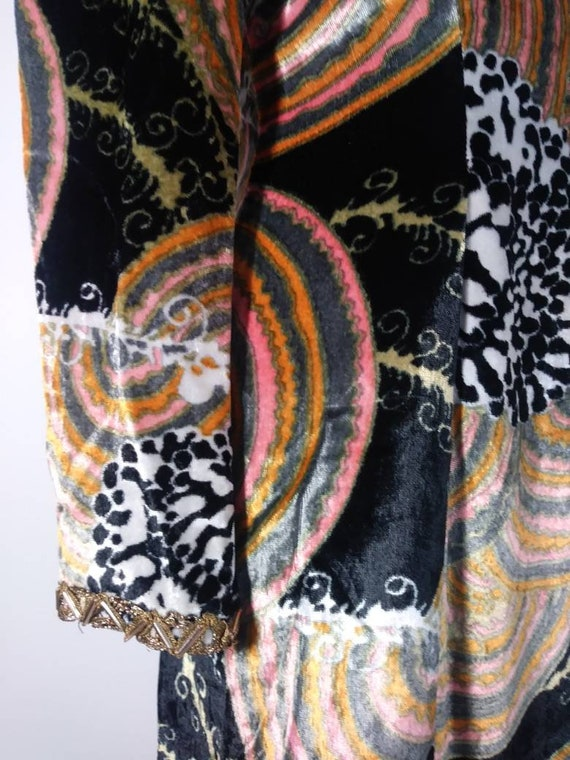 Vintage 60s velvet psychedelic cult dress / 60s m… - image 4