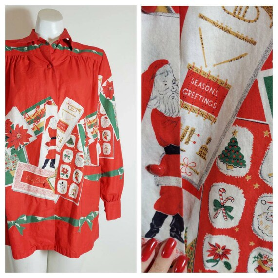 50s novelty print Christmas blouse / 50s cotton sh