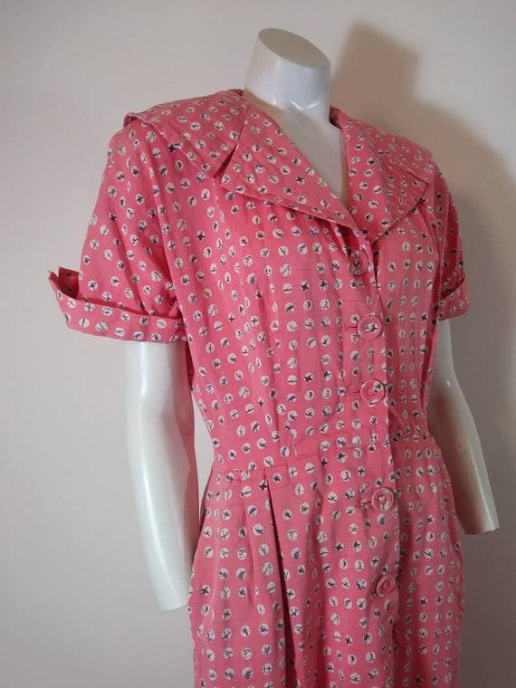 Vintage 40s cotton dress / 40s house dress / 40s … - image 3