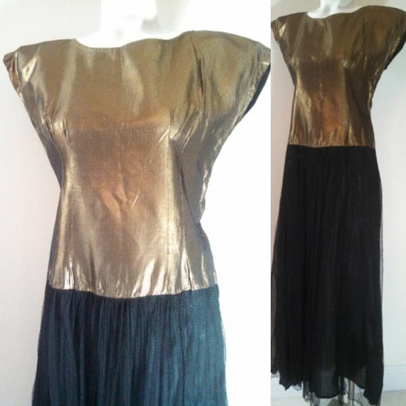 30s 40s gold Dress / Art Deco Dress / 30s cocktail