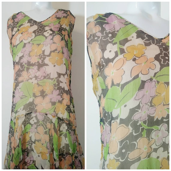 1920s 20s silk chiffon dress / 20s sheer floral d… - image 2