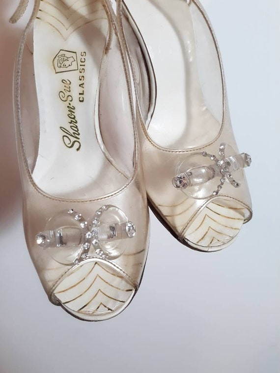 vintage 50s rhinestone heels shoes / Open Peep Toe
