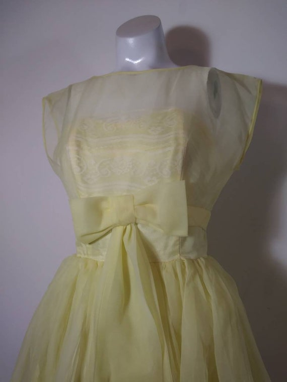 Vintage 50s party dress / 50s yellow dress / 50s … - image 4