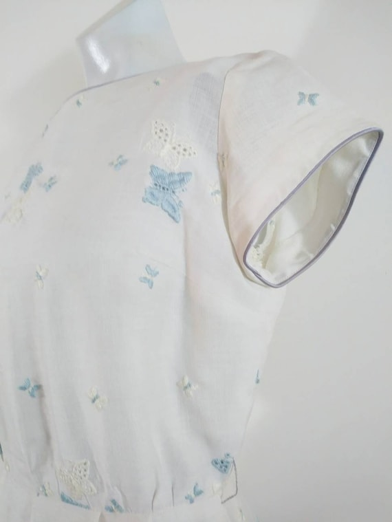 50s cotton embroidered eyelet dress / 50s butterfl