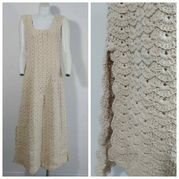Vintage 70s Crochet Dress / 70s Boho Hippie Gypsy