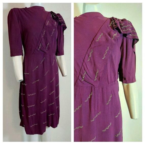 Vintage 30s 40s rayon dress / 30s rayon crepe / 40