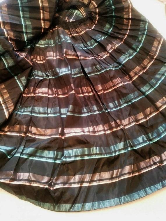 Vintage 50s striped skirt / 50s pleated skirt / 5… - image 3