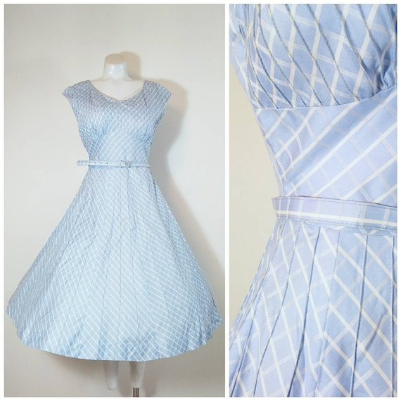 Vintage 50s baby blue dress / 50s rhinestone dress