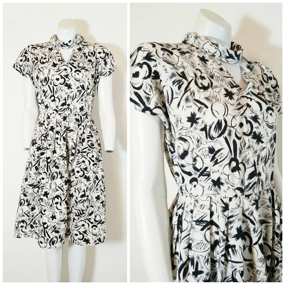 Vintage 50s abstract dress / 50s black and white d