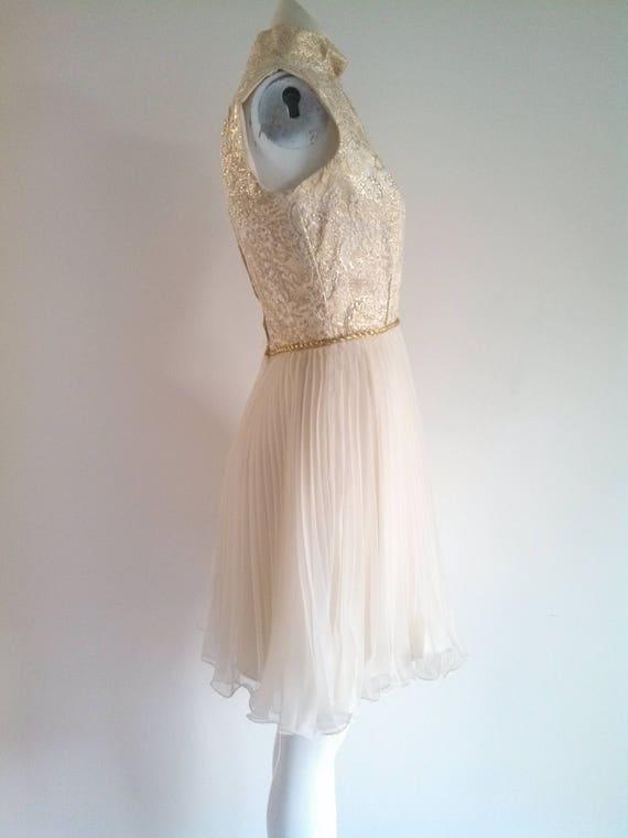 vintage 60s party Dress / vintage gold lame dress… - image 6