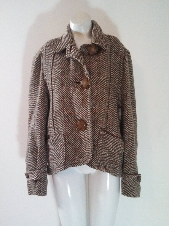 40s Wool Tweed Jacket / Classic Wool Coat Jacket /