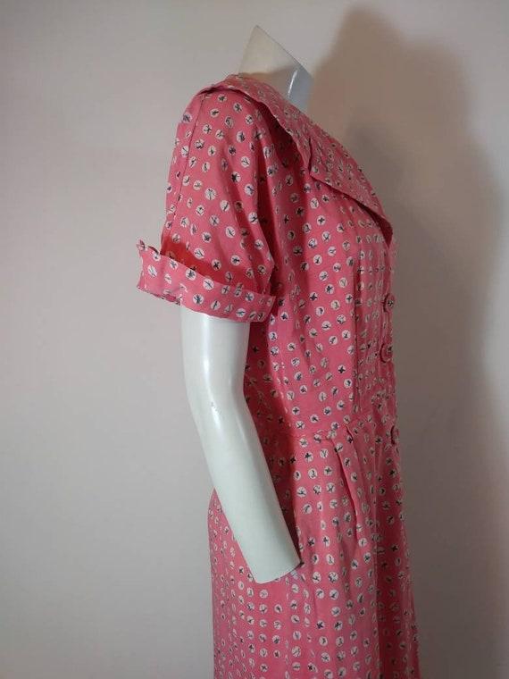 Vintage 40s cotton dress / 40s house dress / 40s … - image 7
