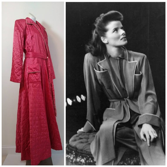 40s fuchsia satin dressing gown robe / 40s early 5