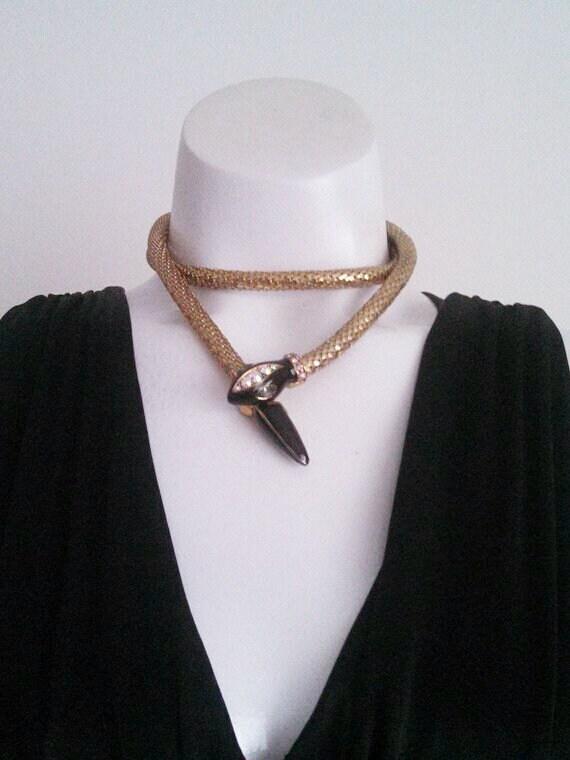 Vintage Snake Necklace / vintage Snake Belt / 70s