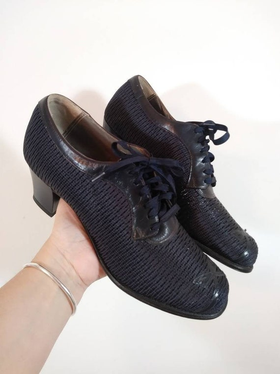 Vintage 40s mesh heels shoes / Mesh nylon 40s heel