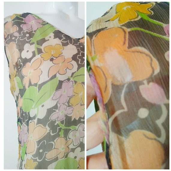 1920s 20s silk chiffon dress / 20s sheer floral d… - image 10