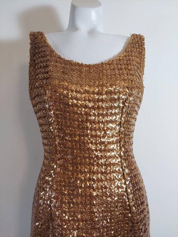 Vintage gold sequin dress / Holiday dress / Showgi