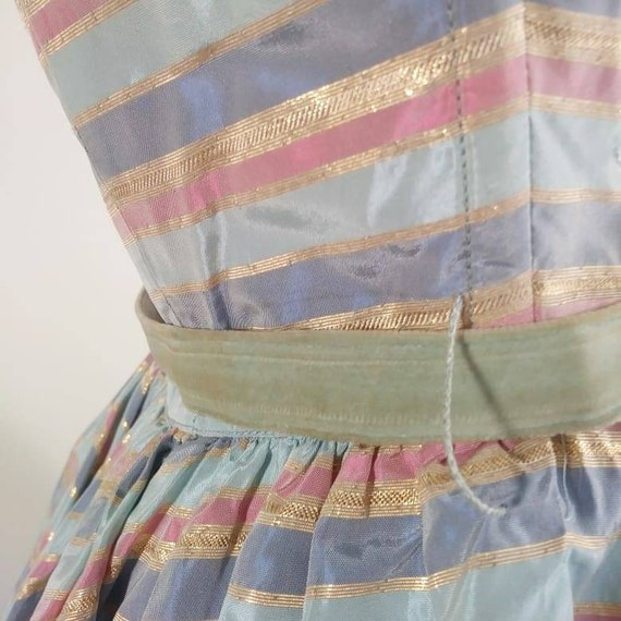 Vintage 50s cotton candy halter dress / 50s party… - image 4