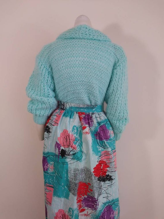 50s style cotton skirt / 80s abstract skirt / Roc… - image 8