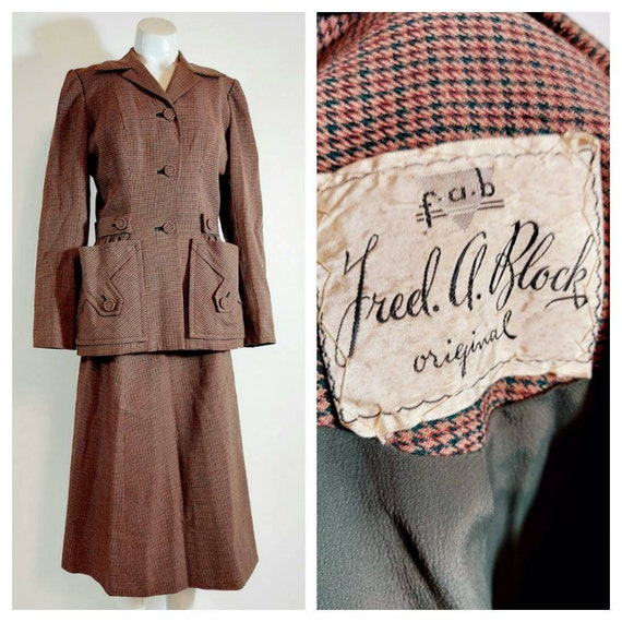 Vintage Fred A Block original suit / 40s suit / 40