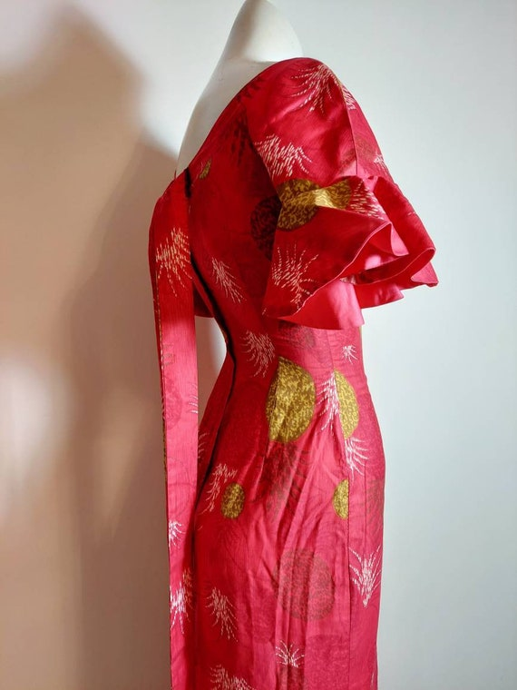 vintage 50s 60s Royal Hawaiian dress / hostess dr… - image 8