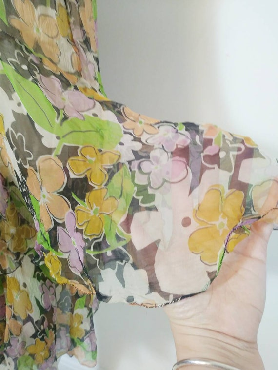 1920s 20s silk chiffon dress / 20s sheer floral d… - image 5