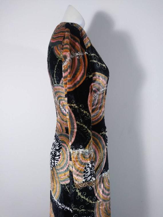 Vintage 60s velvet psychedelic cult dress / 60s m… - image 6