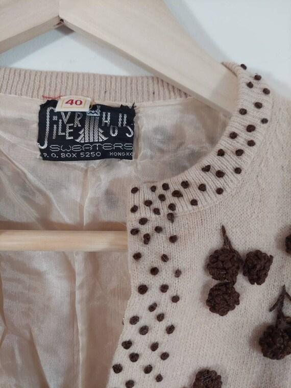 Vintage 50s cardigan / 50s angora sweater / 50s p… - image 3