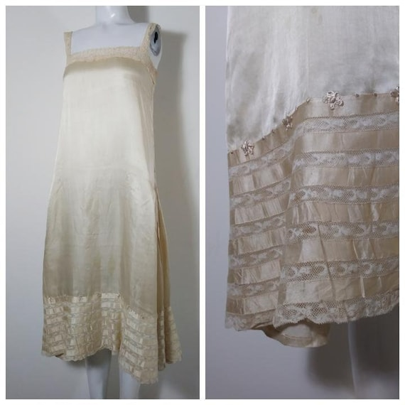 1920s 20s silk slip dress / chantililly lace slip