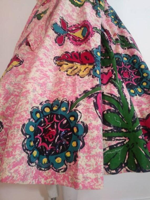 50s novelty print skirt / 50s full circle skirt /… - image 6