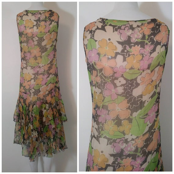 1920s 20s silk chiffon dress / 20s sheer floral d… - image 8