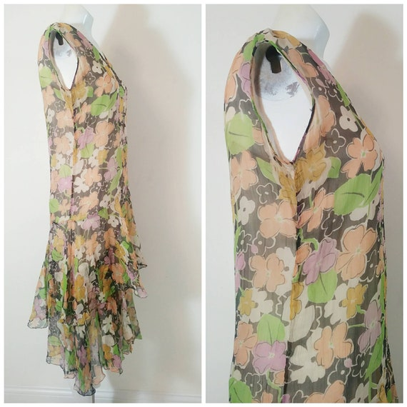 1920s 20s silk chiffon dress / 20s sheer floral d… - image 6